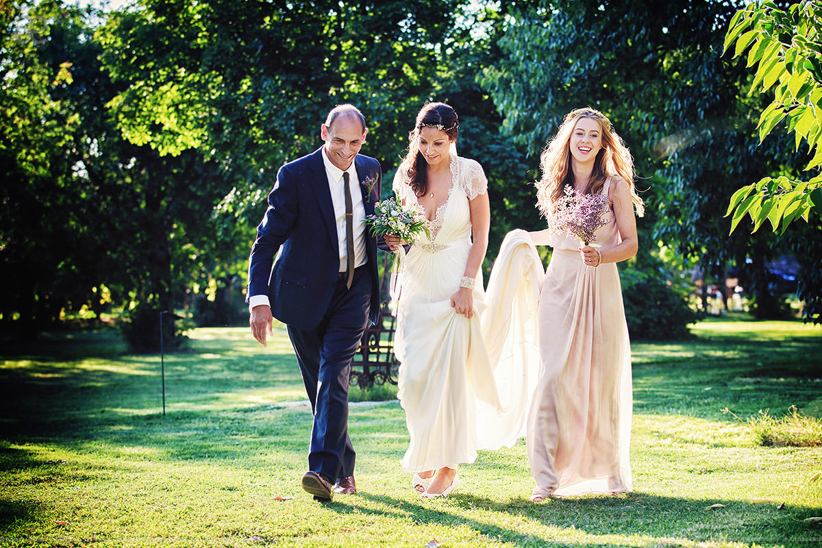 Bride father and bridesmaids