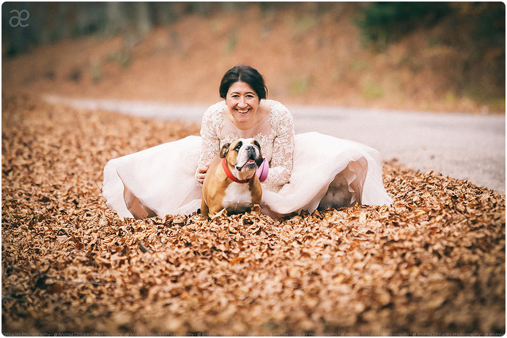 Bride with bulldog