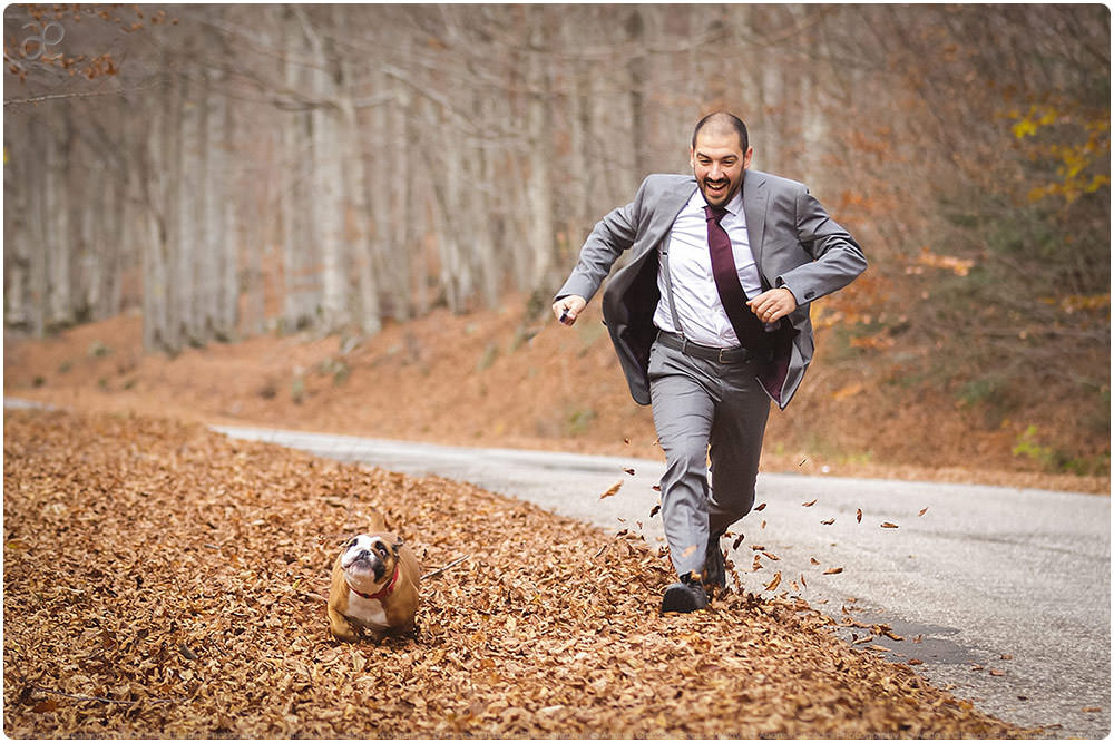 Groom and bulldog