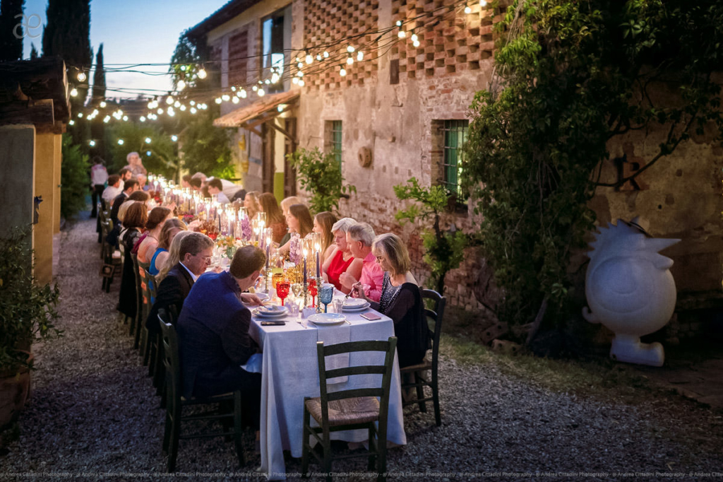 outdoor wedding dinner at il grande prato